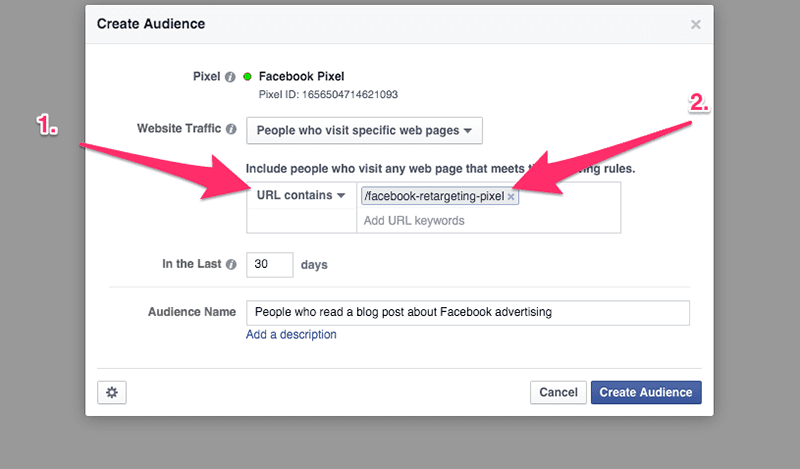 url contains facebook retargeting pixel