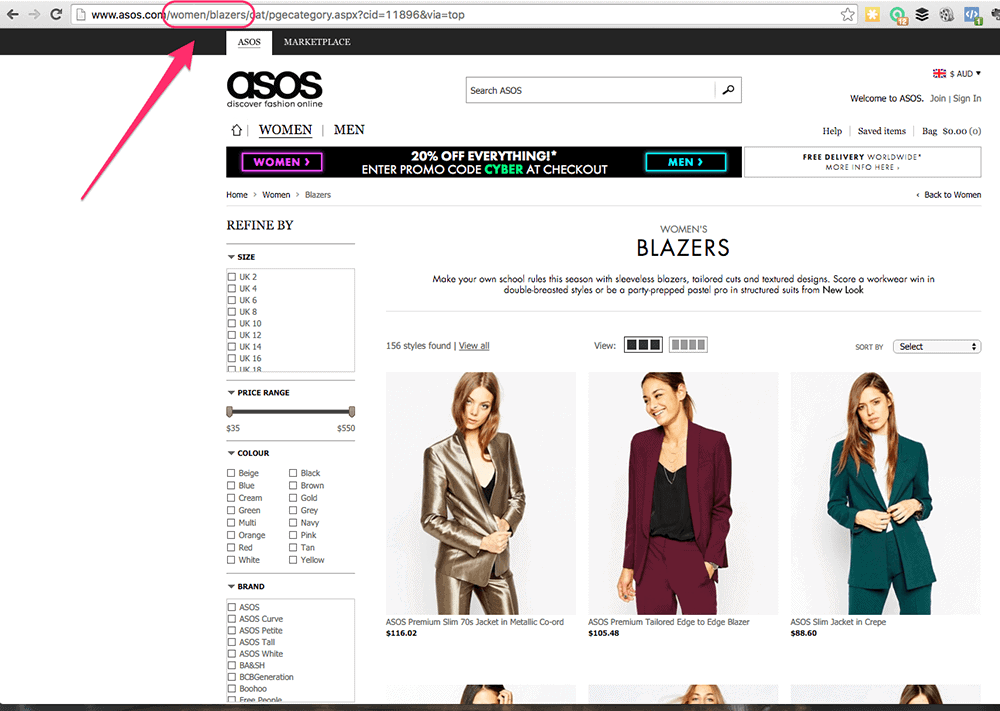 asos womens clothing facebook retargeting
