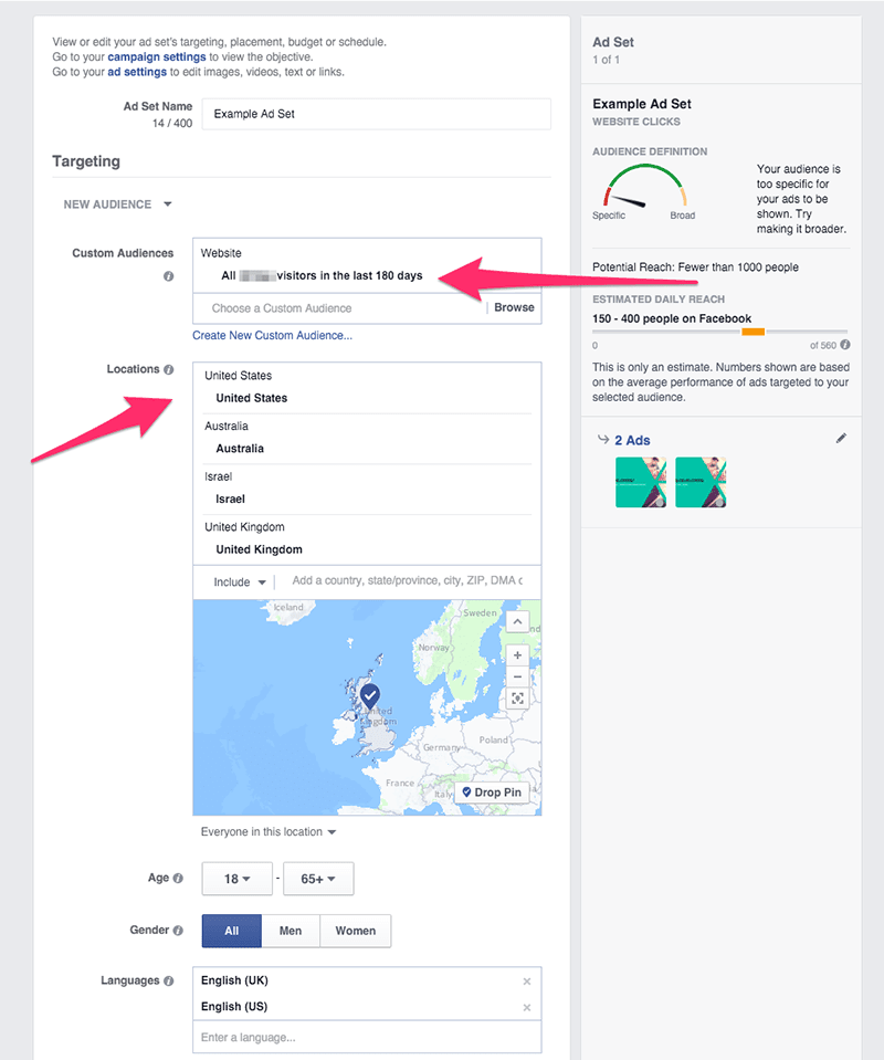 fb ad set targeting options