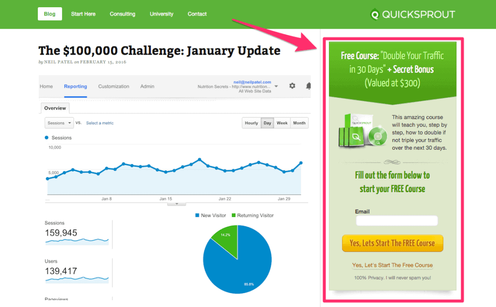 quicksprout sidebar opt-in
