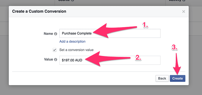 Conversion Value for Facebook Custom Conversions