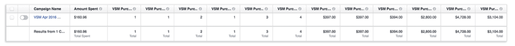 Facebook ad manager purchase values