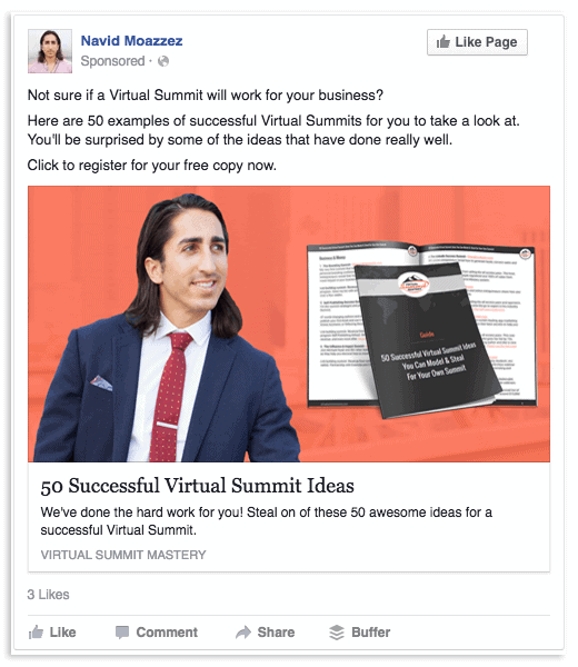 Facebook ad example for warm audience - VSM