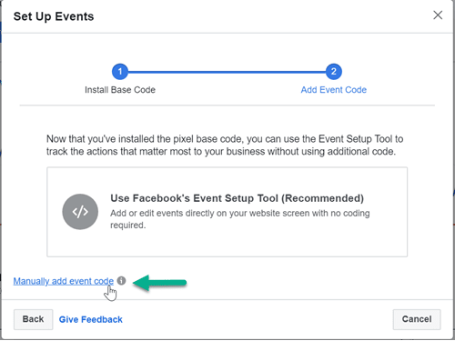 Manually add Facebook standard event code