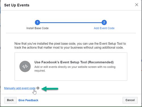 Manually add Facebook standard event code