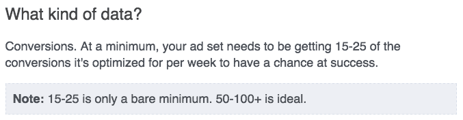 Facebook minimum number of conversions