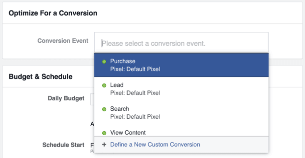 Optimizing for a conversion event