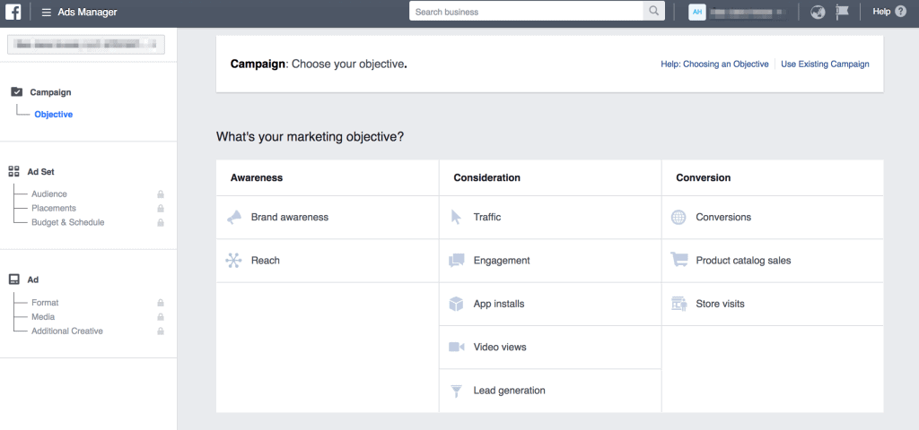 Facebook ad objective for Instagram follower targeting