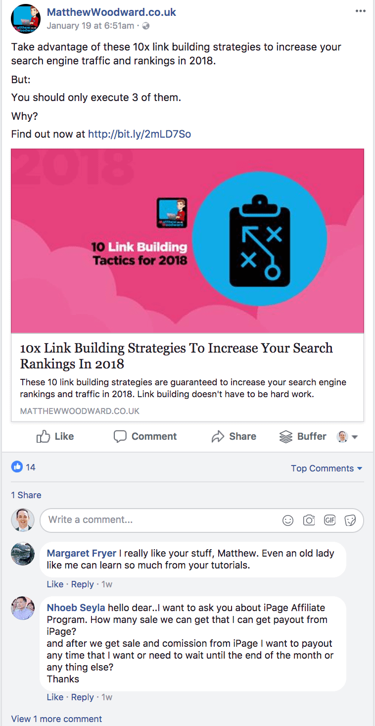 Example Facebook post that won't do well in the new Facebook News Feed