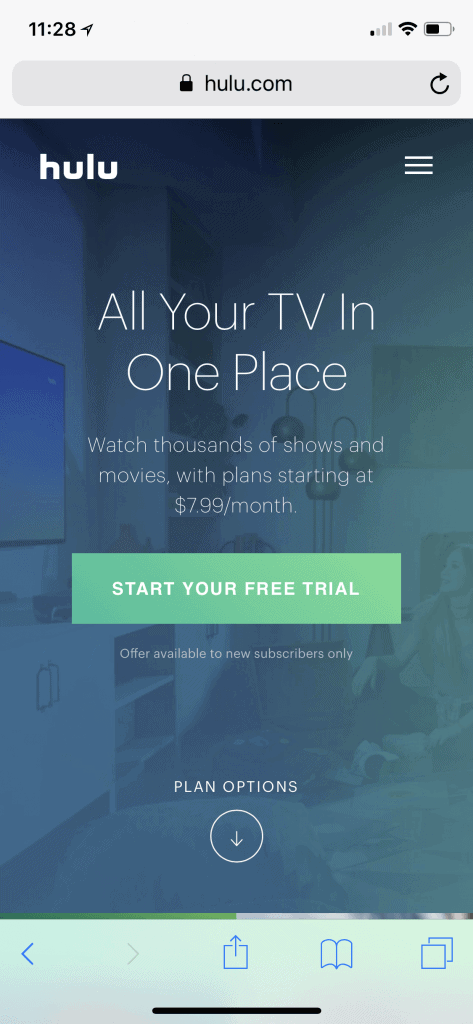 Example of a Hulu mobile landing page