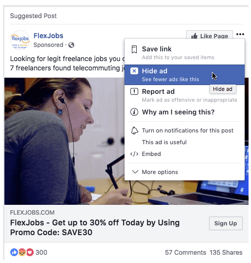 "Example of the ""Hide Ad"" feature in a Facebook ad"