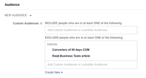 Exclude specific people from audience to boost Facebook ad relevance score