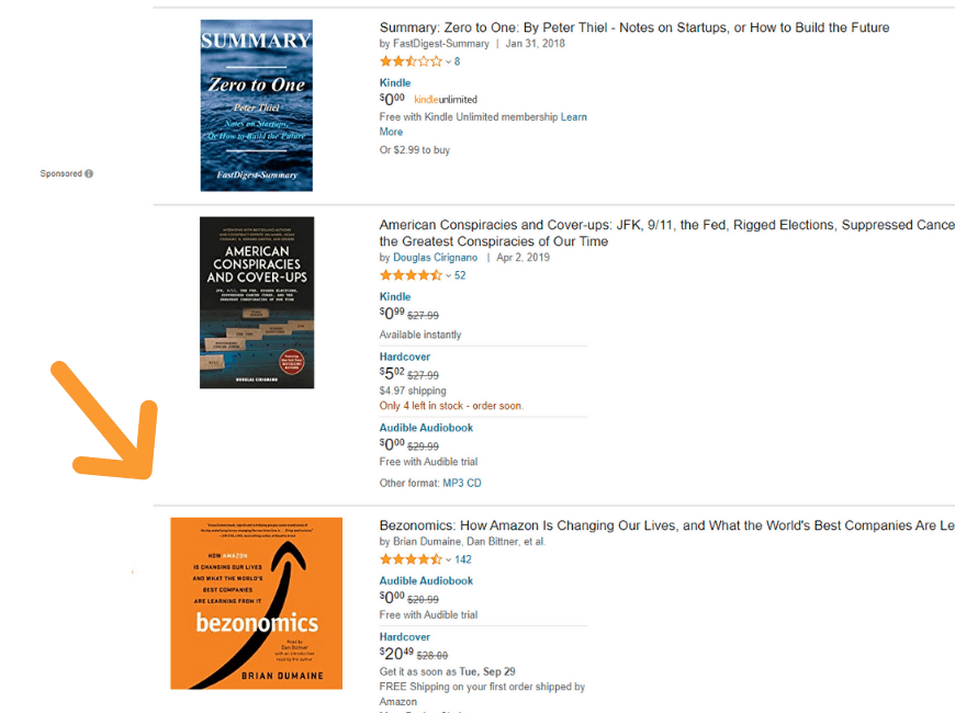 Example of using Amazon's suggestions engine to brainstorm for Facebook audience targeting.