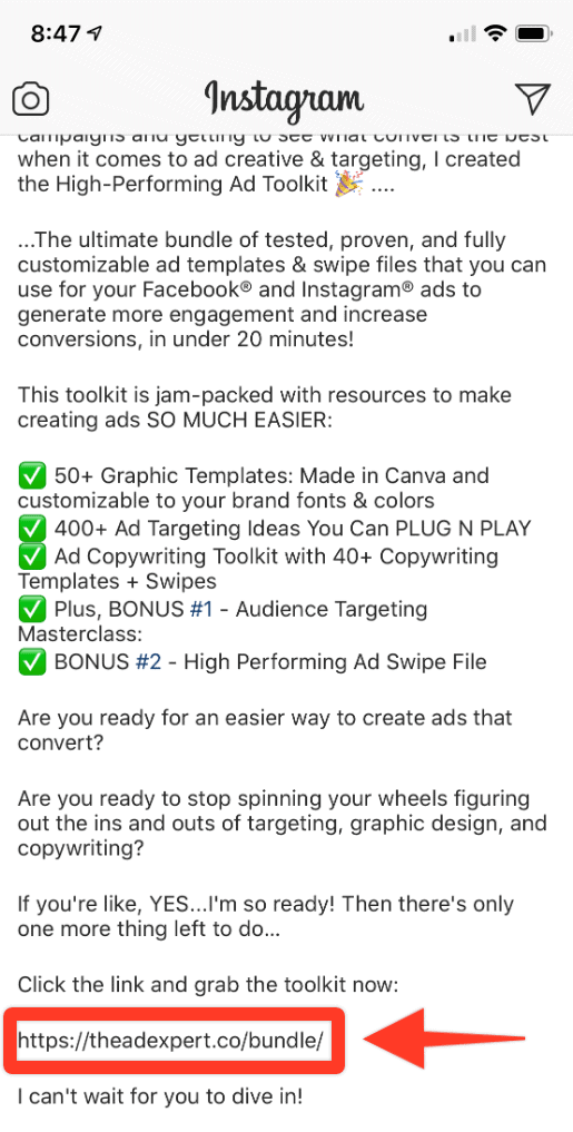 How to write Instagram ad copy CTA example