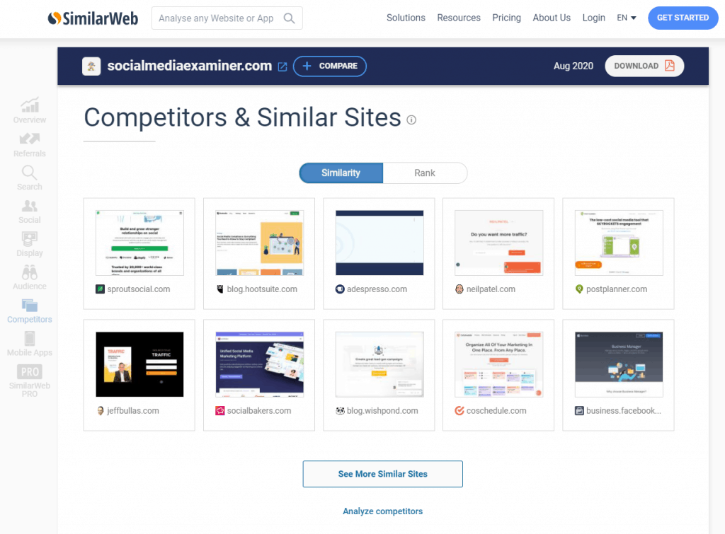 SimilarWeb webpage as an example tool for Facebook audience targeting.